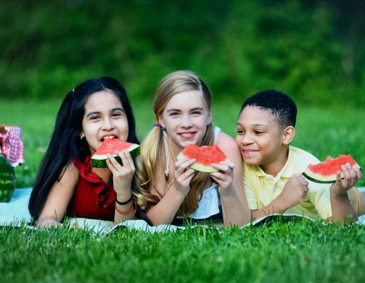 Kids Choice Watermelons Gallery kids on blanket eating