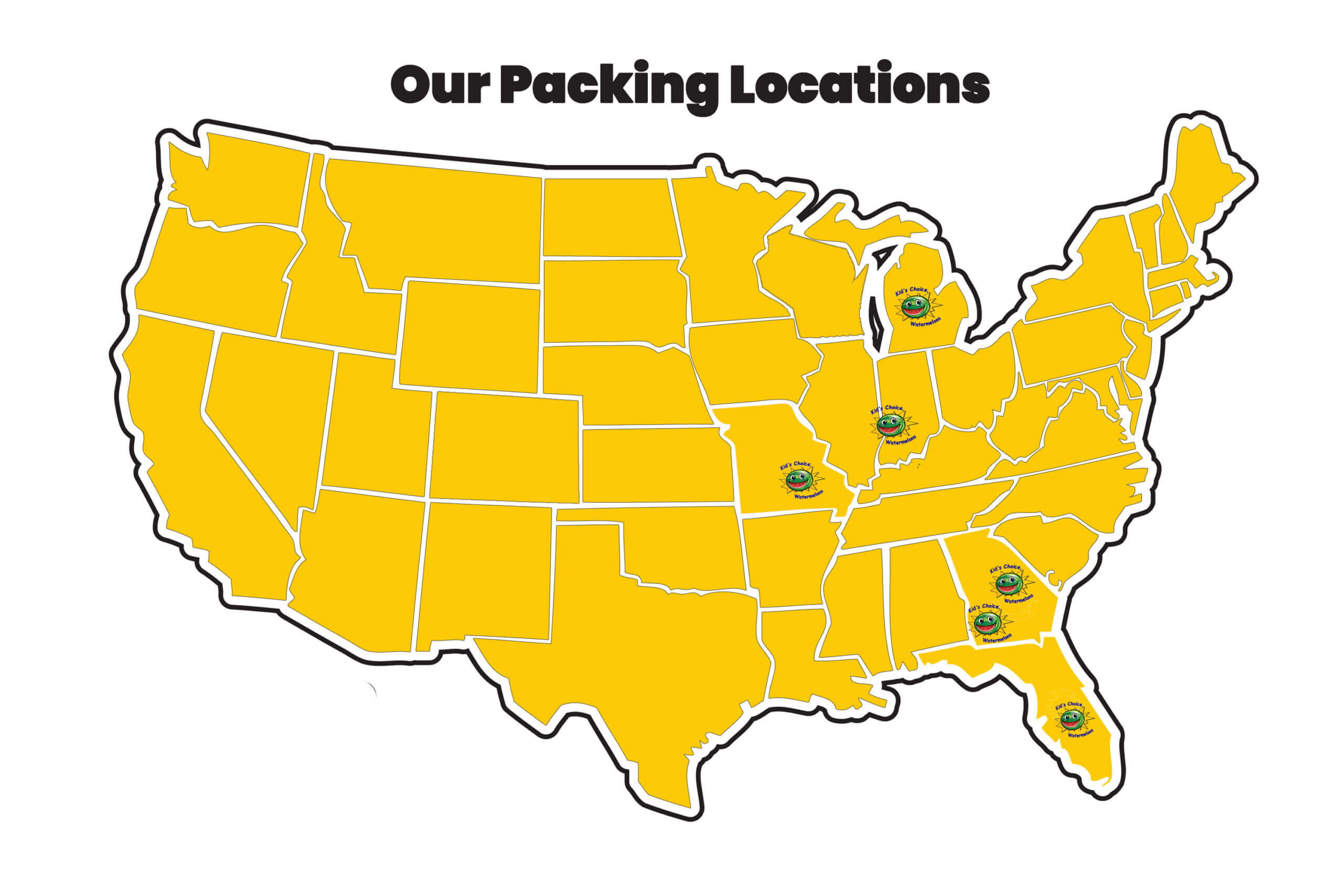 Kids Choice Watermelons Growers Packing Map